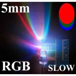 DIODA LED 5mm MIGAJĄCA R-G-B CZERWONO-ZIELONO-NIEBIESKA SLOW-WOLNA CLEAR 2N /AK