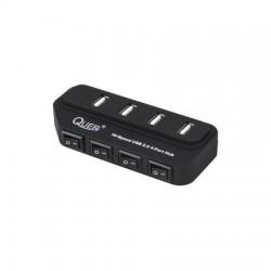 HUB USB 2.0 4-PORT Z WYŁĄCZNIKIEM QUER CZARNY