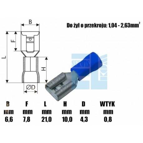 KONEKTOR IZOLOWANA KOŃCOWA CZĘŚĆ 6,3mm NIEBIESKI 10szt /5569
