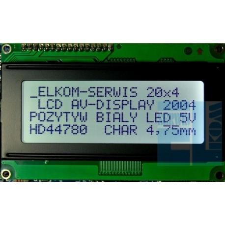 WYŚWIETLACZ LCD 4x20 2004A FHW K/W BIAŁY 40mA
