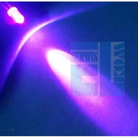 DIODA LED 5mm UV ULTRAFIOLET 140mcd 402nm FLAT-TOP