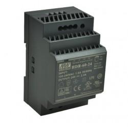 ZASILACZ HDR-60-24 24V DC 2,5A 60W SZYNA DIN IMP. Mean Well CZARNY