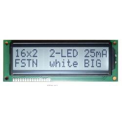 WYŚWIETLACZ LCD 2x16 1602B FHW K/W BIAŁY BIG DUŻE ZNAKI 16x2 CYRYLICA