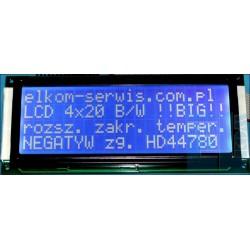 WYŚWIETLACZ LCD 4x20 H NIEBIESKI W/B BIG DUŻE ZNAKI 20x4 ! CYRYLICA