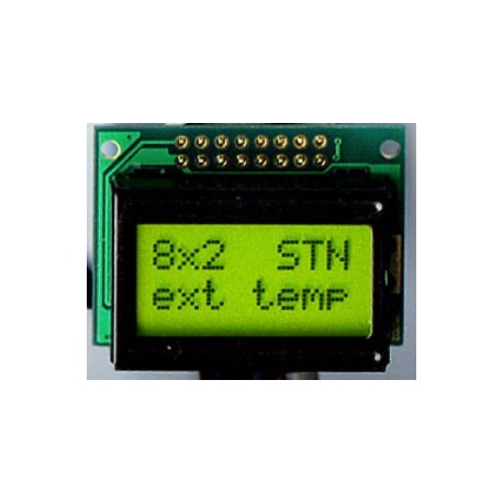 WYŚWIETLACZ LCD 2x8 A Y/G 8x2
