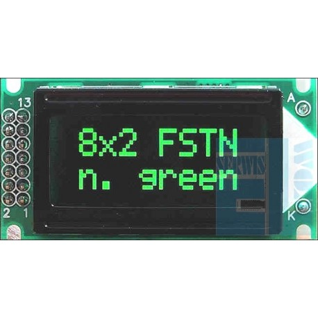 WYŚWIETLACZ LCD 2x8 G/K PURE GREEN NEGATYW 8x2 CYRYLICA
