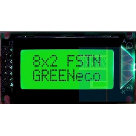 WYŚWIETLACZ LCD 2x8 K/G PURE GREEN 8x2 CYRYLICA