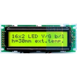 WYŚWIETLACZ LCD 2x16 F Y/G h:30mm 16x2 LED