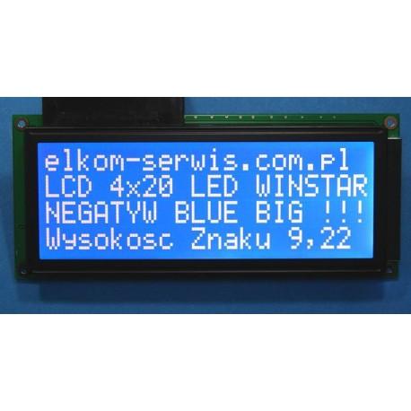 WYŚWIETLACZ LCD 4x20 WH2004 L TMI LED NEGATYW BLUE CYRYLICA 20x4 BIG CHAR