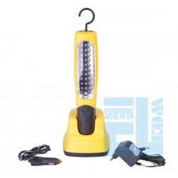 LAMPA 30 LED WARSZTATOWA z ładowarką sieciową i samochodową + AKUMULATORKI, PODSTAWA