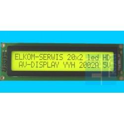 WYŚWIETLACZ LCD 2x20A Y/G 20x2 POZYTYW 2002A