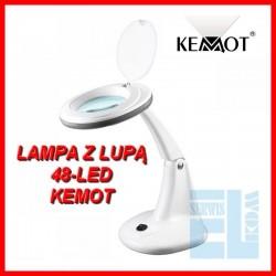 LAMPA Z LUPA BIURKOWA 3D 48 LED SERWISOWA KOSMETYCZNA KEMOT NAR0460