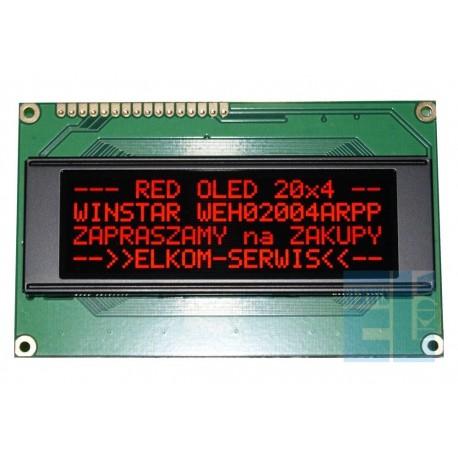 WYŚWIETLACZ OLED 4x20 WEH2004 ARPP5N NEGATYW CZERWONY RED 20x4 + SPI