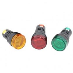 WOLTOMIERZ PANELOWY 28mm MIERNIK OKRĄGŁY 6-48V AC LED CZERWONY KONTROLKA