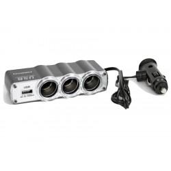 Rozgałąźnik gniazda zapalniczki samochodowej 3 drożny + USB z przewodem